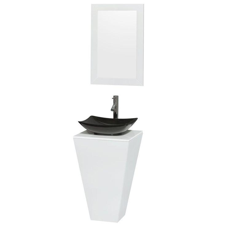 Photos On Esprit Pedestal Bathroom Vanity in Glossy White White Man Made Stone Countertop Arista Black Granite Sink and inch Mirror by Wyndham Collection