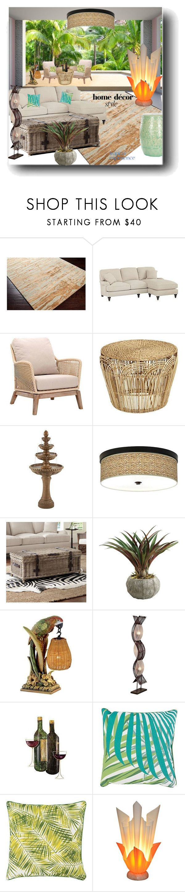 """""""Tropical Style"""" by snezanamilunovic ❤ liked on Polyvore featuring interior, interiors, interior design, home, home decor, interior decorating, Surya, Sloane, Giclee Gallery and Kathy Ireland"""