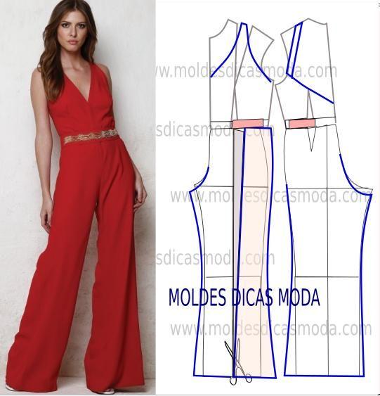 Desenhe o molde de macacão vermelho (base) frente, costas. Observe com atenção a imagem antes de passar ao desenho do modelo.