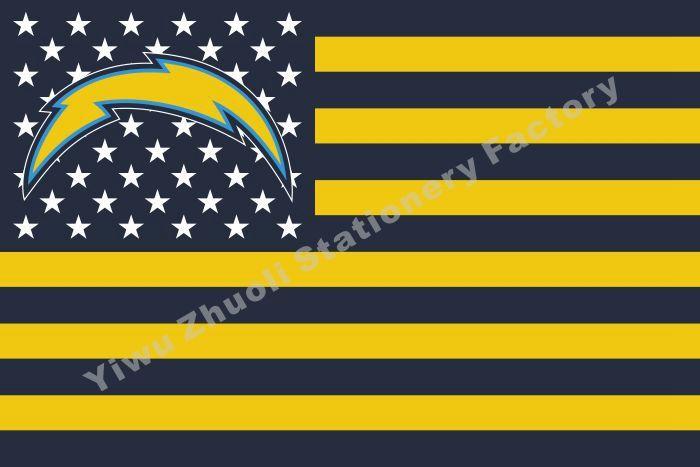 NF * Сан-Диего Зарядные Устройства Флаг Со Звездой И Желтой Полосой 144X96 см (3x5FT) 100D Полиэстер Высокого Качества Баннер Ensign Бесплатная Доставка