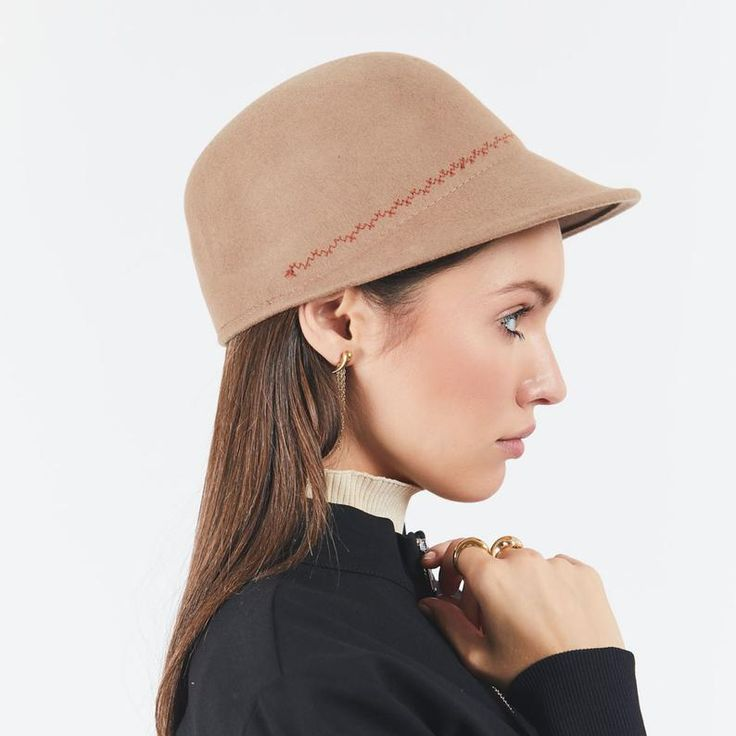 Womens felt cap with unique embroidery , Winter felt hat , Women felt hat , Felt cap hat , Custom hat – Accessories / Chic and stylish