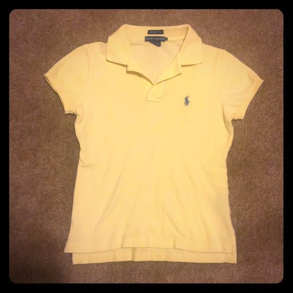 BOGO 75% OFF POLO SALE yellow Ralph Lauren polo EUC! Classic fit light yellow polo size S. Side Note: Cover photo is more true to color than the closeup pic. Ralph Lauren Tops