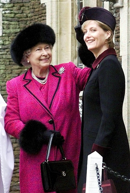 Prince Edward's wife, Sophie Rhys-Jones, with the queen