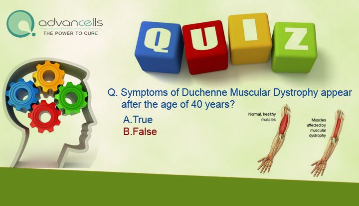 Q. Symptoms of Duchenne Muscular Dystrophy appear after the age of 40 years? A.True B.False