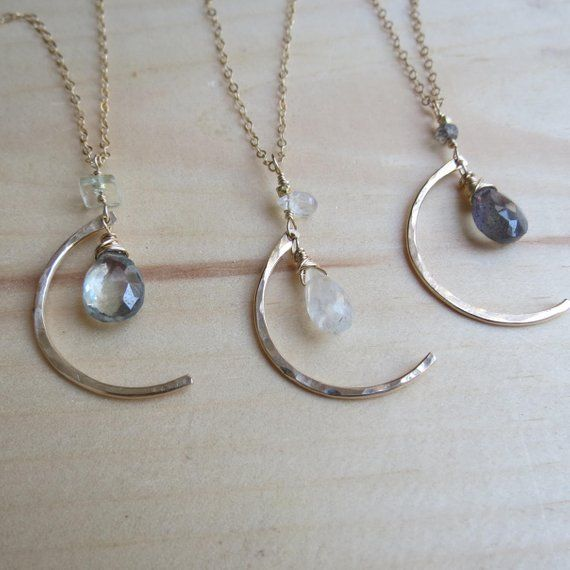 Gold Moon Necklace Gemstone Necklace Gift for Her Crescent Moon Jewelry Gift for Women Gold Filled M