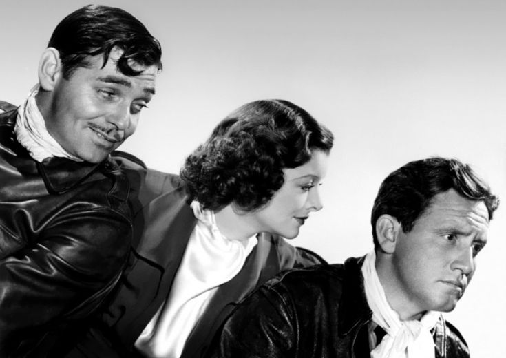 "Clark Gable, Myrna Loy and Spencer Tracy publicity still for ""Test Pilot"", 1938"