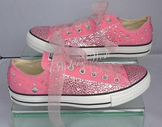 Scarpe da sposa converse rosa brillantini. Wedding pink converse shoes. #wedding #wedding shoes