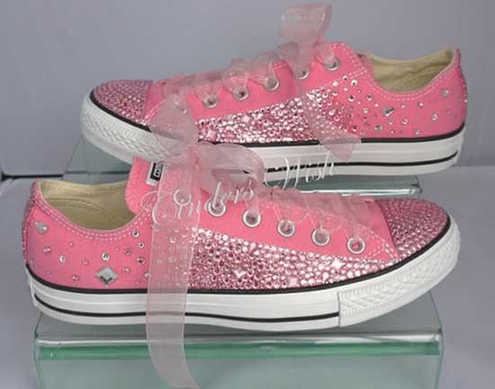 Scarpe da sposa converse rosa brillantini. Wedding pink converse shoes. #wedding #wedding shoes