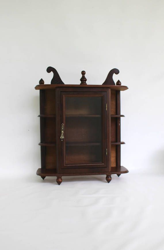 Vintage Wood Curio Cabinet Small Wooden Display Cabinet Wall