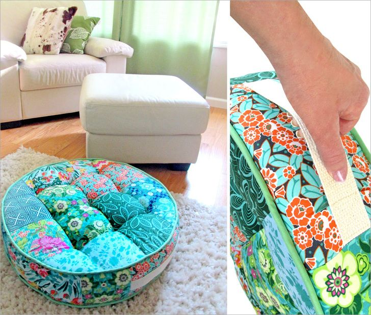 Tufted Round Patchwork Floor Cushion in Amy Butler's Violette: FreeSpirit Fabrics   Sew4Home