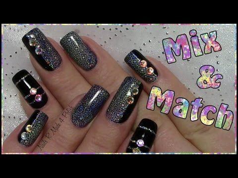 Mix & Match Nägel / Einfaches stamping Nageldesign mit Strass / Silvester / Easy New Years Nail Art - YouTube