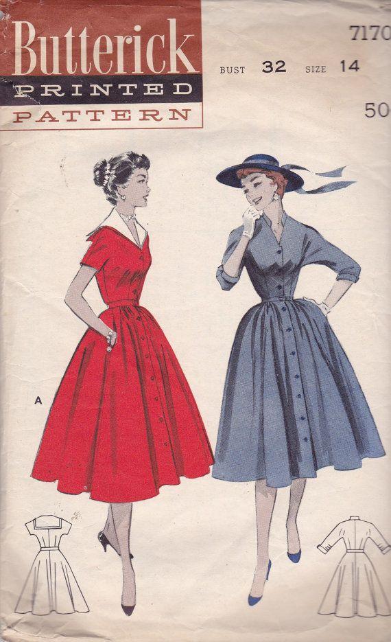 Butterick 7170 Vintage Pattern Full Skirted by AlwaysFeelingHappy