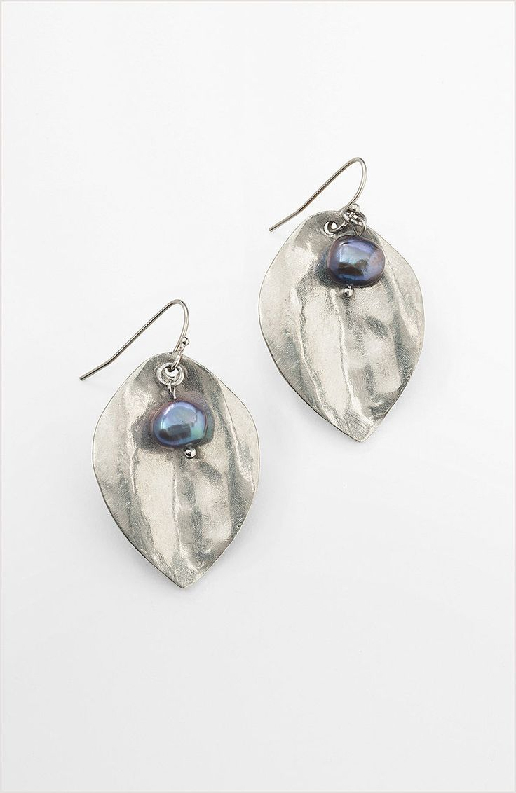 Peacock pearl leaf drop earrings