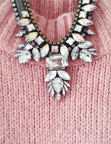 sparkling statement necklaces + sweaters