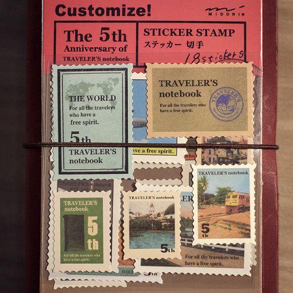 MIDORI TRAVELER'S NOTES sticker. vintage stamp.