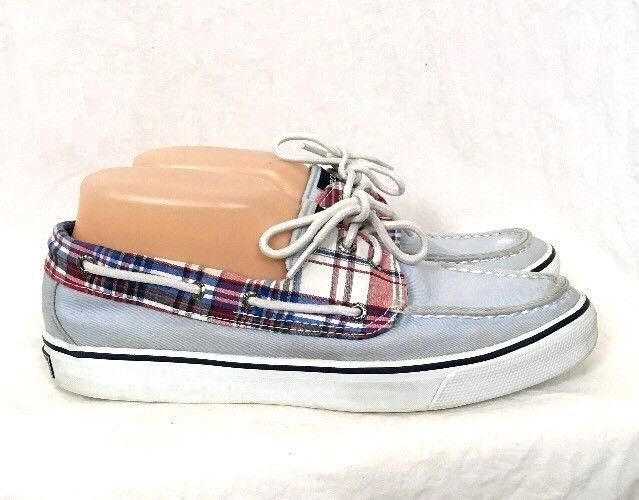 Sperry Top-Sider womens boat shoes Size 9M Light Blue Red Plaid Bahama casual #SperryTopSider #BoatShoes #Casual