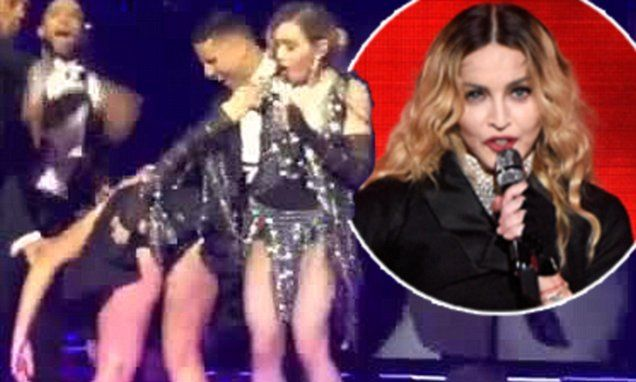 Madonna gives Amy Schumer a spanking during Rebel Heart performance