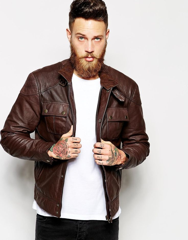 ASOS+Leather+Jacket - Dude looks like a hipster dweeb but this jacket is hot.