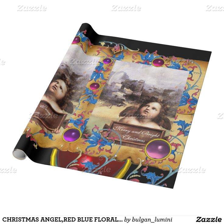 CHRISTMAS ANGEL,RED BLUE FLORAL PARCHMENT PINK GEM WRAPPING PAPER