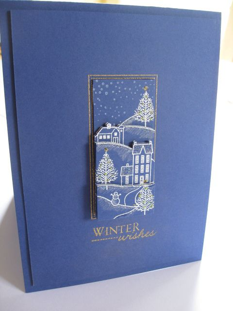 handmade card ... monochromatic blue ... winter them lineart village embossed in white ... less is more ... elegant card!!