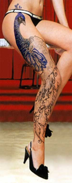 107 best realistic 3d peacock tattoos images on for Feather tattoo on thigh