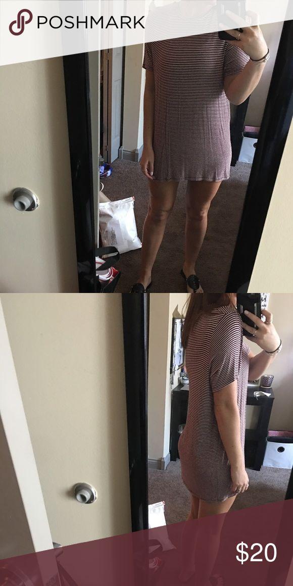 "Brandy melville striped t shirt dress worn a few times!  no trades. i'm 5'6'. ""one sized"" fits like a small Brandy Melville Dresses Mini"