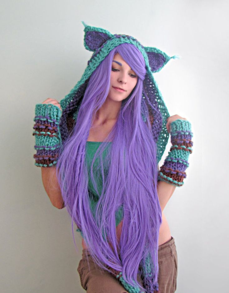 Teal purple and brown Cat hood by *Archaical on deviantART