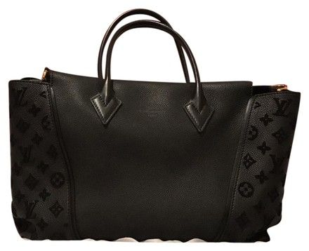 908795144127 Louis Vuitton Black Leather Velvet Monogram W Tote PM Velour Noir