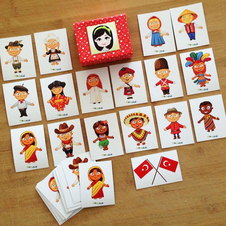 """""""Pia Polya Dünya Çocukları Eşleştirme Kartları""""   Oyun, Pia Polya'nın tüm çocuklara hediyesi olup, fikir mülkiyeti Hotalı Ambalaj Tasarımına aittir."""