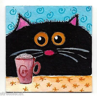 Original Acrylic Painting Whimsical Fat Cat Art Black Cat Hot Choc 2 x 2 Inches | eBay