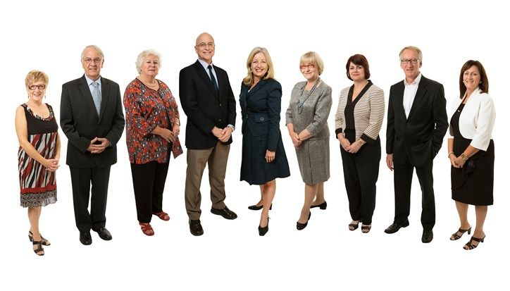 Pictured above from the left are Roma O'Callaghan, John Jennison, Janice Penney, Jack Wegman, Dianne Rule, Jennifer Kearney, Kim McAliney, Geoff Mabbett and Ronda Jacobs.