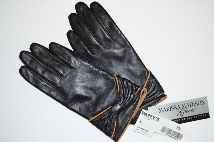 ~MARISSA MADISON BLACK GENUINE LEATHER GLOVES WITH BOW SZS SMALL~ in Gloves & Mittens | eBay