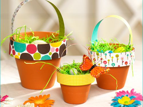 These flower pots make great #Easter baskets or table centerpieces.