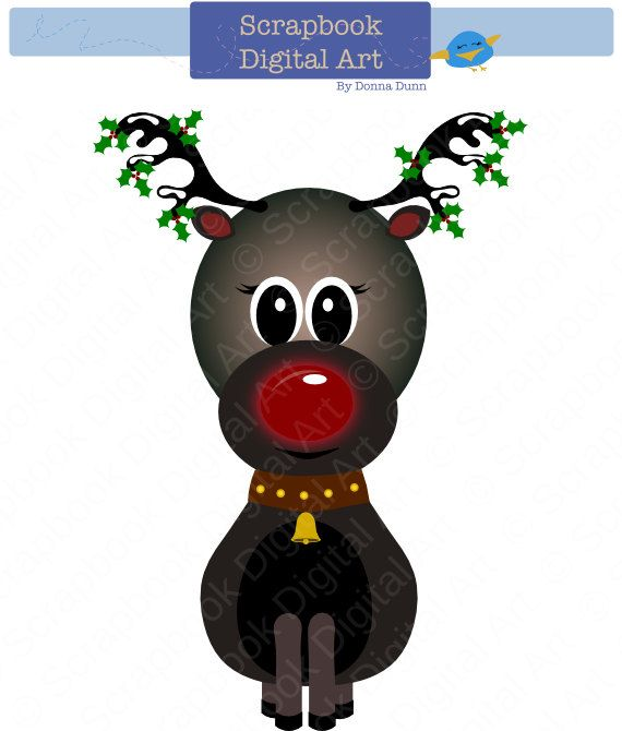 Clip Reindeer Red Rudoph Art Nosed