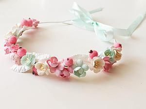Создаем веночек с цветами за 30 минут   Ярмарка Мастеров - ручная работа, handmade