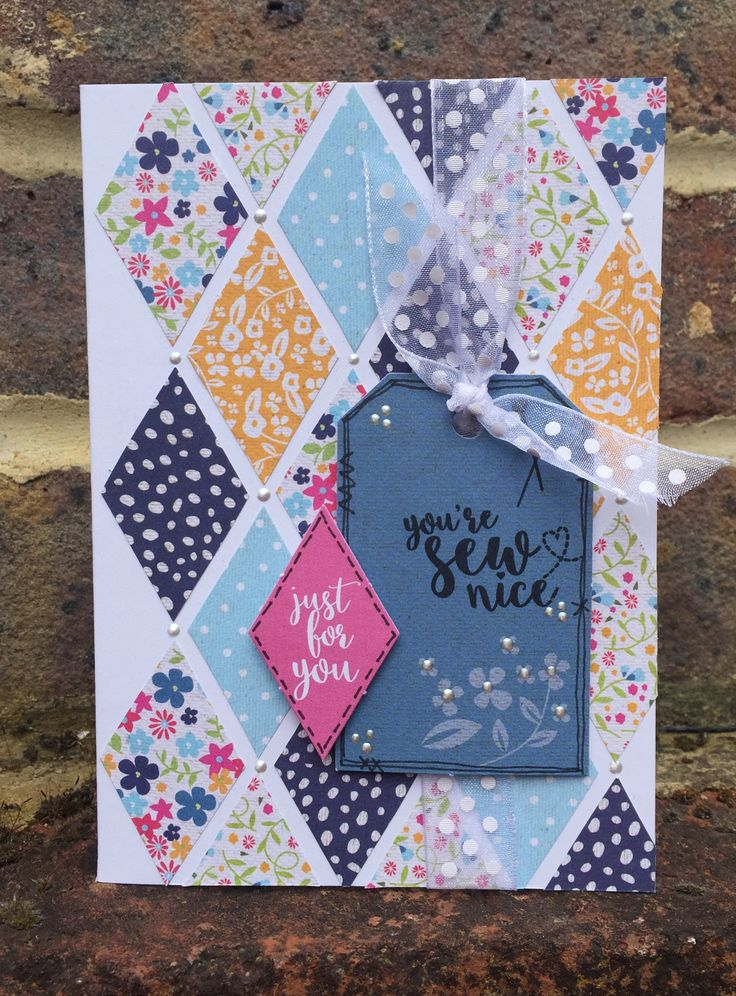 Card created using Julie Loves Pretty Patchwork Project Kit, made by Julie Hickey www.craftworkcards.com