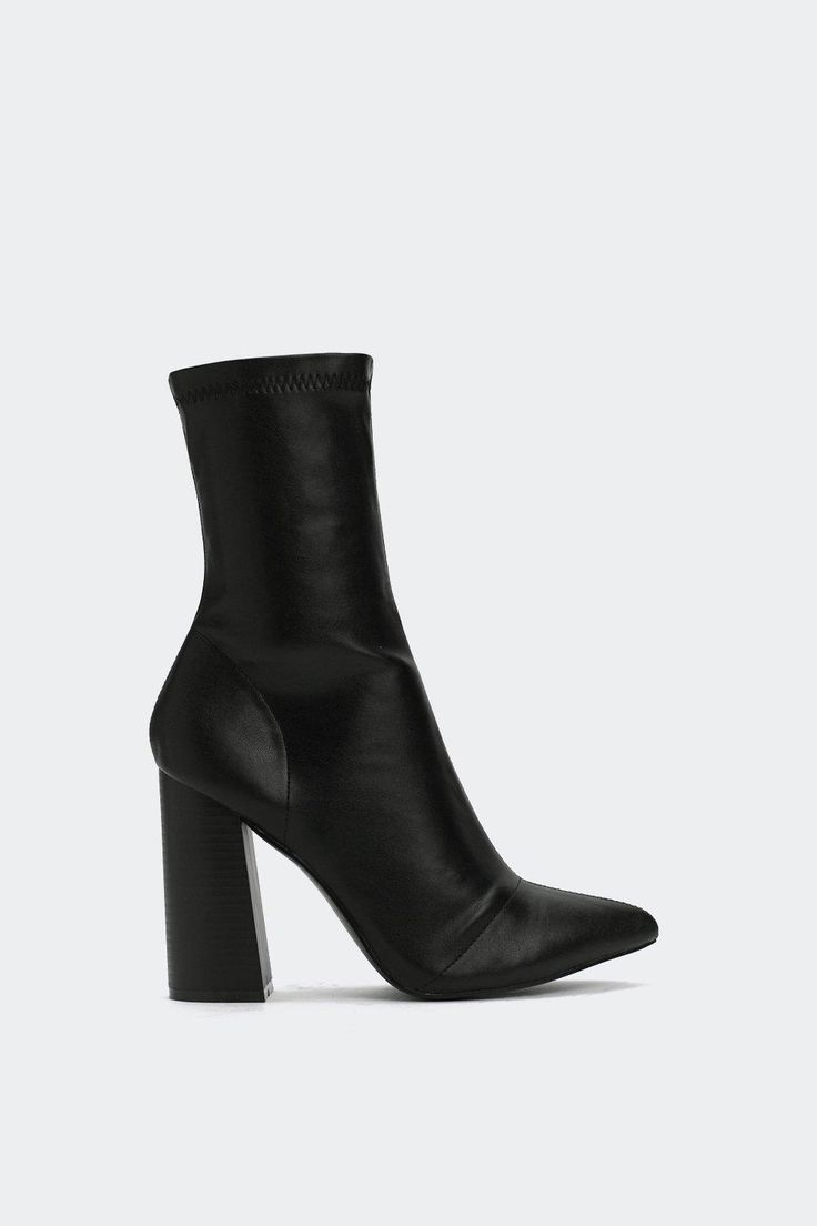 Tight like that. This boot comes in faux leather and features a sock design, almond toe, and inside zip closure.