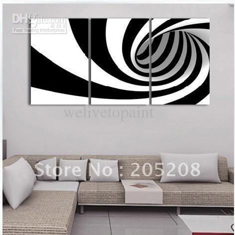 Enmarcada 3 paneles de gama alta en blanco y negro lienzo pintura al óleo moderna imagen de la pared cebra - XD00802