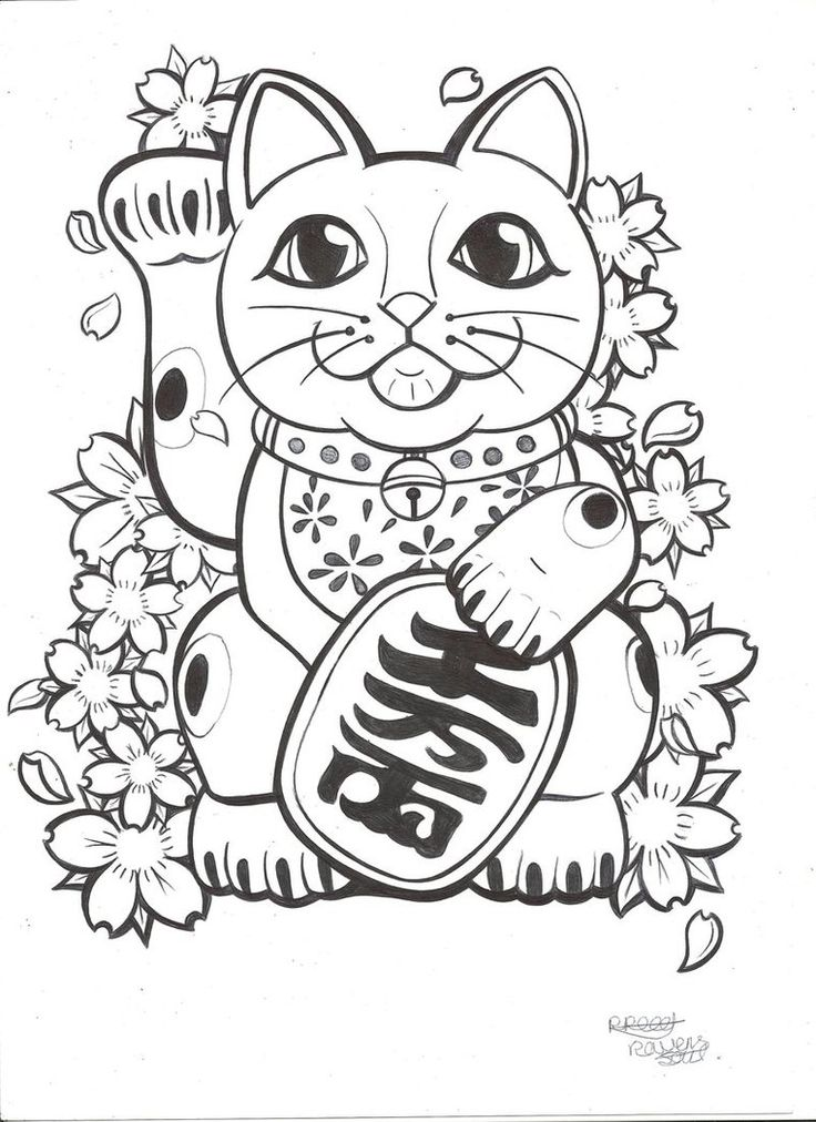 Lucky Cat tattoo commission by RavensSoulDesigns
