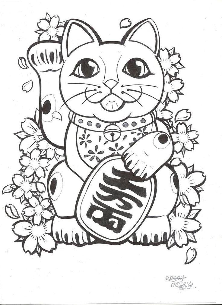 lucky cat tattoos pinterest lucky cat tattoo cats and maneki neko. Black Bedroom Furniture Sets. Home Design Ideas