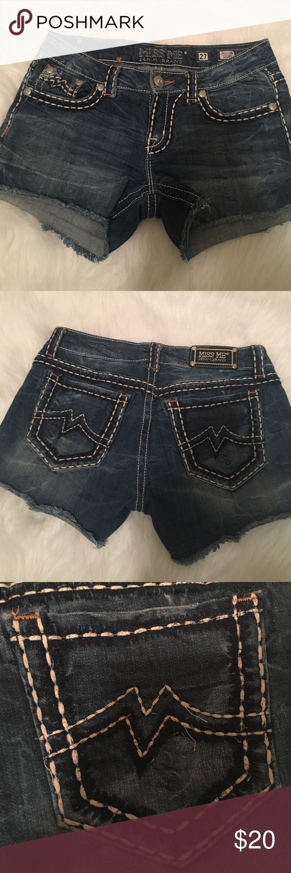Miss Me denim shorts Dark denim Miss Me brand frayed shirts - a little wear to the threading but nothing that can't be snipped off or fixed. Size 27 Miss Me Shorts Jean Shorts