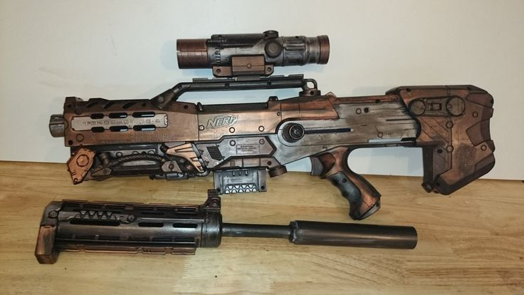 Nerf longshot with a recon barrel mod and a steampunk paint job.