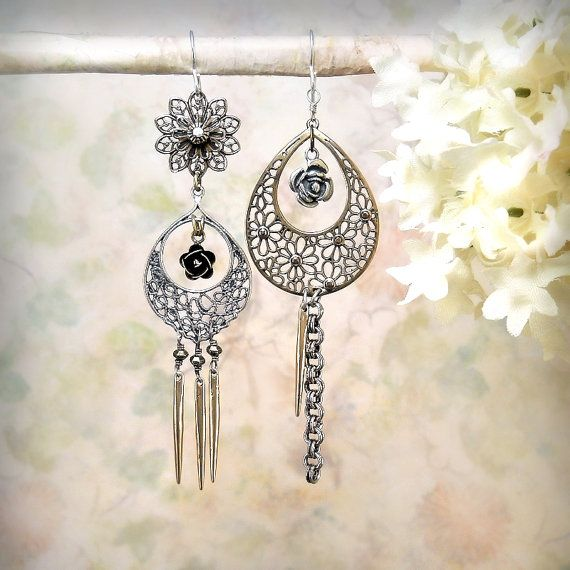 Roses in Lace - OOAK Filigree Teardrop Dangle Earrings, Mixed Metals Bronze Silver Rose Flower Earrings, by MiaMontgomery on Etsy