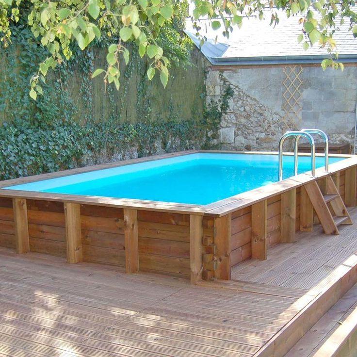 Piscine Bois Rectangulaire Lagos 4 27 M X 2 77 M X H 1 33 M Couleur Liner Bleu Jardimagine Wooden Pool In Ground Pools Diy Swimming Pool