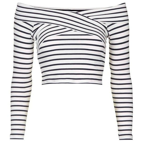Petite Topshop Stripe Off the Shoulder Crop Top (£27) ❤ liked on Polyvore featuring tops, crop tops, shirts, crop top, striped shirt, long sleeve tops, off-the-shoulder tops and criss cross crop top