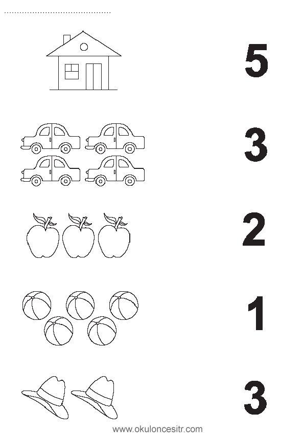 Sayı eşleştirme çalışma sayfası kartları ve okul öncesi anasınıfı çalışması sayfaları rakam sayı eşleştirme kağıtları, ev, elma, basketbol topu, kovboy şapkası eşleştirme çalışmaları örnekleri ile çalışmaları kağıdı indirme web sitesi. Preschool and kindergarten, kids free number matching worksheets pages printables, download.