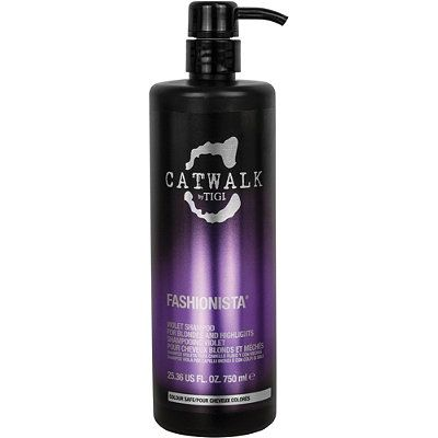 TigiCatwalk Fashionista Violet Shampoo - keeps the 'yellow creep' from happening to your gorgeous blonde hair.