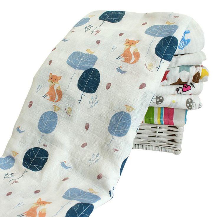 New Cotton Baby Swaddling Blanket Newborn Infant Crochet Wrap Bath Towel Swaddle 120*120cm CY1