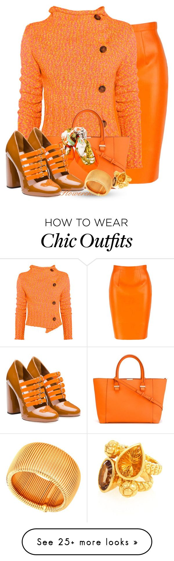 """""""Orange Best for Fall"""" by flowerchild805 on Polyvore featuring Vivienne Westwood Anglomania, Victoria Beckham, Hermès, Miu Miu and Alexandra Alberta"""