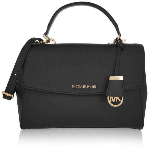 MICHAEL Michael Kors Ava medium textured-leather shoulder bag (590 CAD) ❤ liked on Polyvore featuring bags, handbags, shoulder bags, black, shoulder hand bags, black satchel handbag, black satchel bag, handbag satchel and satchel purse